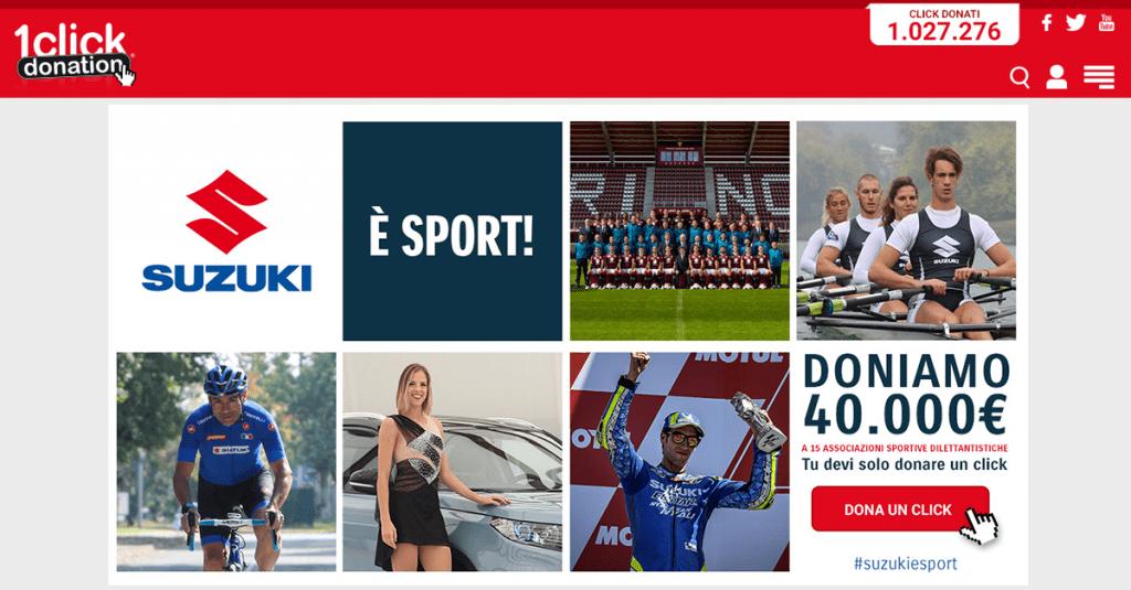 Suzuki Italia e 1ClickDonation di nuovo insieme per Suzuki è Sport