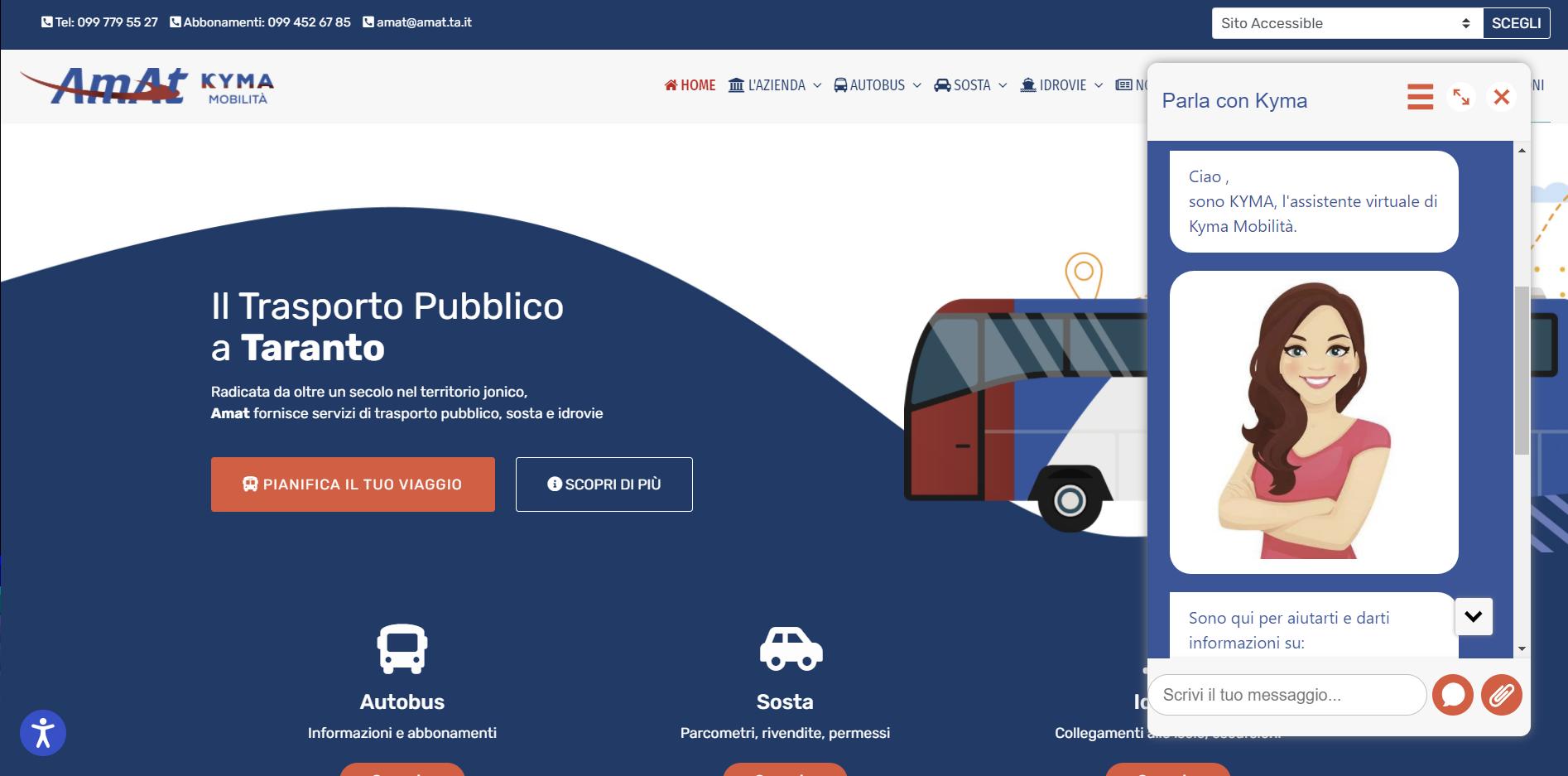 Kyma: l'assistente virtuale per gli utenti di Amat Kyma Mobilità, sviluppata da CrowdM e PA ABS. 3